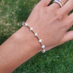 """Jewelry - 14K Gold Bead Bracelet w/Pearls 7.3"""""""